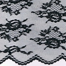 Black Flower Basket Chantilly Lace Fabric