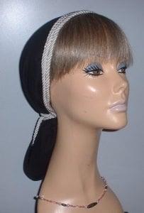 Black Batiste Double Cording Snood Headcoverings