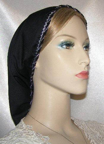 Black Batiste Silver Trim Snood Headcoverings