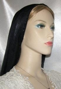 Black Peach Skin Tiechel Headcovering