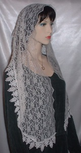 Ivory Floral Lace Hair Wrap Mantilla Veil Headcovering