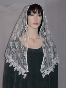 Ivory Floral Lace Shabbat Veil Headcovering