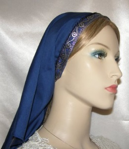 Navy Batiste Silver Blue Jacquard Band Tiechel Headcovering