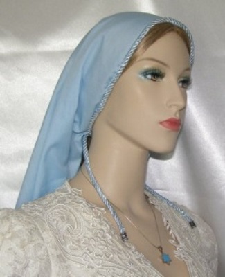 Lt. Blue Batiste Tiechel Scarf Headcoverings
