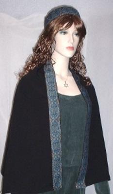 Black Turquoise Konta Jacquard Shabbat Shawl Kippah Set