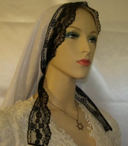White Eyelet Black Lace Ties Tiechel Scarf Head Covering #4