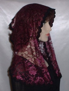 Wine Floral Lace Hair Wrap Headcovering
