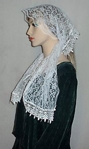 White Floral Lace Venise Trimmed Hair Wrap Headcovering