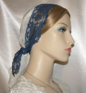 Pale Yellow Eyelet Navy Lace Ties Tiechel Scarf Head Covering #4