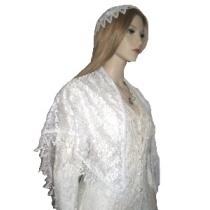 White Venise Trimmed Shabbat Shawl