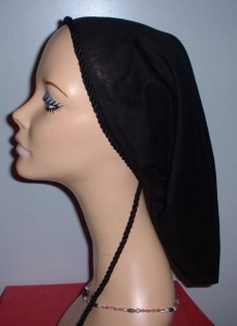 Black Cotton Snood Headcovering #13