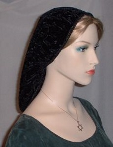Black Crushed Velvet Snood Headcovering