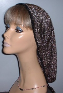 Black Gold Sparkle Snood Headcovering