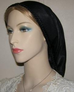 Headcovering - Black Peach Skin Snood Headcovering #2