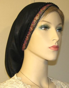 Black Peach Skin Snood Pink Mid East Jacquard Band