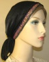 Black Pink Middle Eastern Design Jacquard Band Snood Headcovering