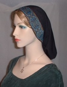 Black Turquoise Jacquard Band Snood Headcovering