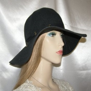 Black Weave Floppy Laced Band Kova Hat Headcovering