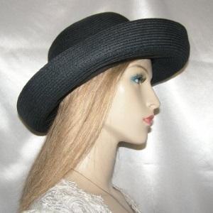 Black Rolled Brim Weave Kova Hat Headcovering