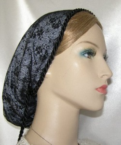 Black Chantilly Lace Lined Snood Headcoverings