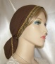 Brown Gauze Cotton Jacquard Band Snood Headcoverings