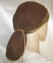 Brown Gauze Cotton Snood Jacquard Band Head Coverings