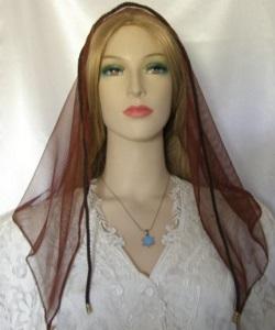Headcovering - Brown Sheer Nylon Net Tiechel Scarf