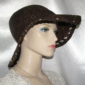 Brown Weave Floppy Beaded Kova Hat Head Coverings