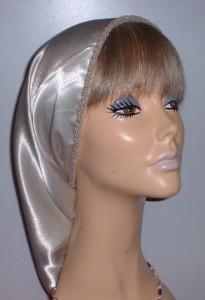 Headcovering - Ecru Crepe Back Satin Snood Headcovering