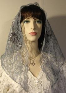Gray Floral Lace Untrimmed Mantilla Veil