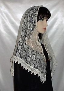 Ivory Floral Lace Cording Ties Shabbat Mantilla Veil Headcovering