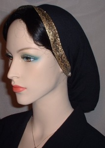 Black Peach Skin Jacquard Band Snood Headcovering