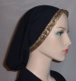 Black Peach Skin Jacquard Band Snood Head Coverings