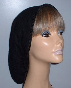Lined Black Lace Snood Headcovering