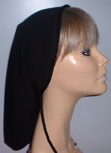 Headcovering - Black Lined Snood Headcovering