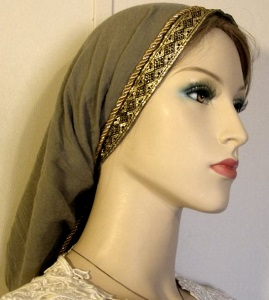 Olive Gauze Cotton Jacquard Band Snood Headcovering - Ties