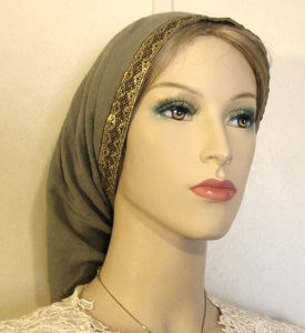 Olive Gauze Cotton Snood Gold Jacquard Band Headcovering