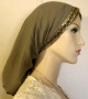 Olive Gauze Cotton Jacquard Band Snood Head Covering