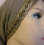 Olive Gauze Cotton Snood - Jacquard Band Trim Headcoverings