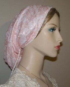 Peach Lace White Lined Snood Headcovering