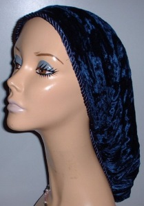 Royal Blue Plush Velvet Snood Headcovering