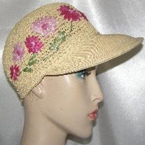 Tan Pink Floral Weave Wide Brim Kova Hat Headcoverings