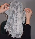 Tying Mantilla Veil Head Coverings Instruction #4