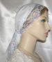 White Batiste Pastel Lace Ties Snood Head Covering