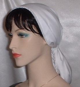 White Lined Batiste Snood Head Coverings