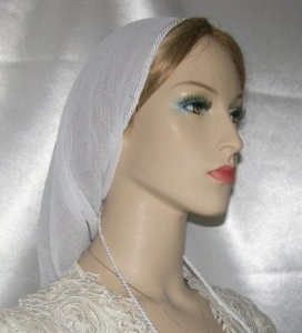 Headcovering - White Onion Skin Snood Headcovering
