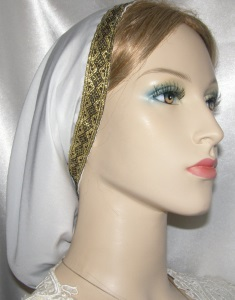 White Poly Blend Gold Jacquard Band Snood Headcovering