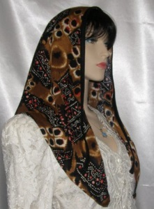 Yocheved Tribal Design Poly Tiechel Scarf Headcovering