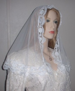 White Sheer Bridal Mantilla Veil
