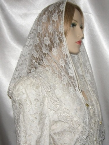 Hair Coverings on Trm65 Floral Lace Mantilla Veil Hair Covering